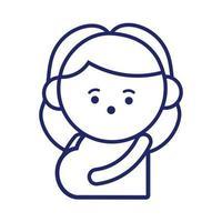 mujer embarazada estilo de línea kawaii vector