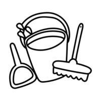 cubo de limpieza y estilo de línea de cepillo vector