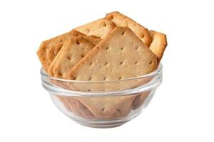 Cracker bread snack food isolated on white background with clipping path photo