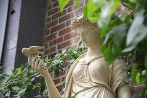 Statue in a garden in a greenhouse in the spring photo