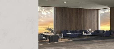 Modern luxury interior background with panoramic windows and nature view and plaster wall mock up bright design living room 3d render illustration photo