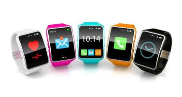 3d colorful smart watchs on white background photo