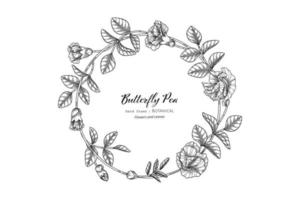 Hand drawn Butterfly peas floral and leaf vector
