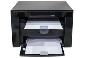 White paper in black laser printer toner photo