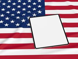Happy 4th of July USA Independence Day and tablet mockup photo