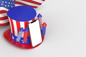 Feliz 4 de julio, día de la independencia de EE. UU. y maqueta de teléfono inteligente con decoración y bandera estadounidense foto