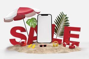 teléfono inteligente con objetos decorativos de playa foto