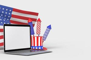 Happy 4th of July USA Independence Day and laptop mockup with decorate and american flag photo