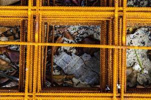 malla de construcción de acero oxidado foto