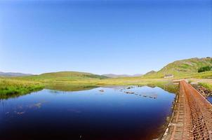 Blue water with green hills photo