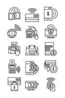 mobile banking shopping or payment market online ecommerce icons set line and fill line style icon vector