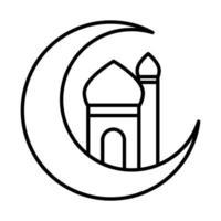 media luna con el templo eid mubarak icono de estilo de línea de celebración religiosa islámica vector