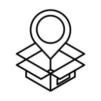 delivery packaging navigation pointer cardboard box cargo distribution logistic shipment of goods line style icon vector
