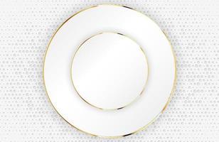 Fondo blanco moderno con elemento de círculo dorado brillante. Fondo plateado limpio claro abstracto texturizado con semitono de puntos vector