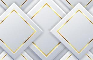 Modern white background with shiny gold geometric element. Elegant geometric design with golden line vector