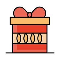 wrapped gift box celebration line and fill icon vector