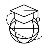 online education graduation hat world connection website and mobile training courses line style icon vector