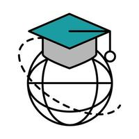 online education graduation hat world connection website and mobile training courses line and fill icon vector