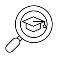 online education graduation hat and magnifier website and mobile training courses line style icon vector