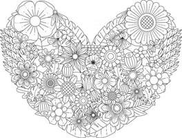 Mandala Flowers Coloring Page for Adults and Children Oriental Floral Ornaments Patterns in Heart Shape Vector illustration