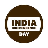 happy independence day india label with flag national patriotic silhouette style icon vector