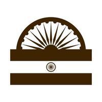 happy independence day india ashoka wheel flag proud emblem silhouette style icon vector