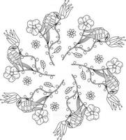 Birds in the garden forest with flowers fruits leaves tropical outline monogram coloring page vector