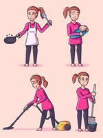 Housewife character set vector