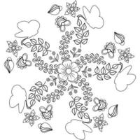 Butterfly natural pattern floral flower garden outline monogram coloring page vector