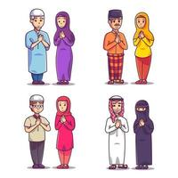 Muslim character in various countries vector