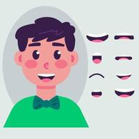 Boy mouth animation set vector