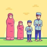 Muslim family praying vector