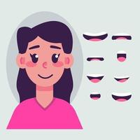 Girl mouth animation set vector