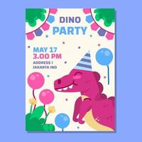 Childrens birthday poster with a dino concept vector