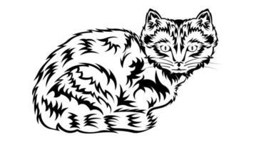 dibujo de bosquejo de contorno de gato vector