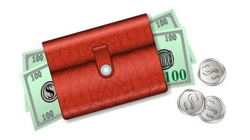 Leather wallet with banknotes dollars and coins isolated vector