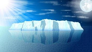 Arctic Iceberg Landscape Day at Night Background vector