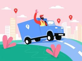 Delivery man with delivery van illustration concept vector