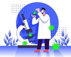 Doctor testing virus in laboratory vector illustration concept