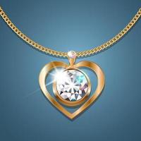Necklace with a heart-shaped pendant on a gold chain. With a large gold-set diamond in the center. Decoration for women. vector