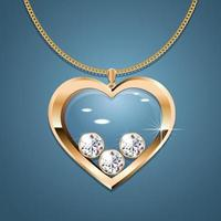 Necklace with heart pendant on a gold chain. With three gold-set diamonds. Decoration for women. vector