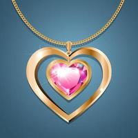 Necklace with heart pendant on a gold chain. With a jewel of crimson color in a gold frame. Decoration for women. vector