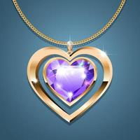 Necklace with heart-shaped pendant on a gold chain. With a gemstone of purple color in gold setting. Decoration for women. vector