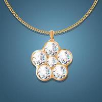 Necklace with pendant on a gold chain. With six large diamonds. Decoration for women. vector
