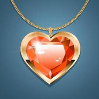 Necklace with heart pendant on a gold chain. With red gold-set gemstone. Decoration for women. vector