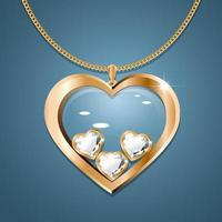 Necklace with heart pendant on a gold chain. With three heart-shaped diamonds in gold. Decoration for women. vector
