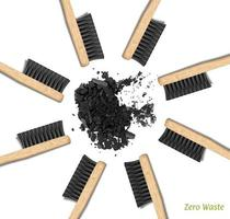 Banner Bamboo Toothbrushes in a circle. Zero waste, set of brushes with black bristles. Charcoal, carbon. Biodegradable material. vector