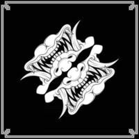 Japanese hannya bandana vector