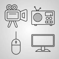 Simple Icon Set of Electronics And Devices Related Line Icons vector