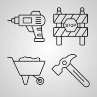 Simple Set of Construction Vector Line Icons
